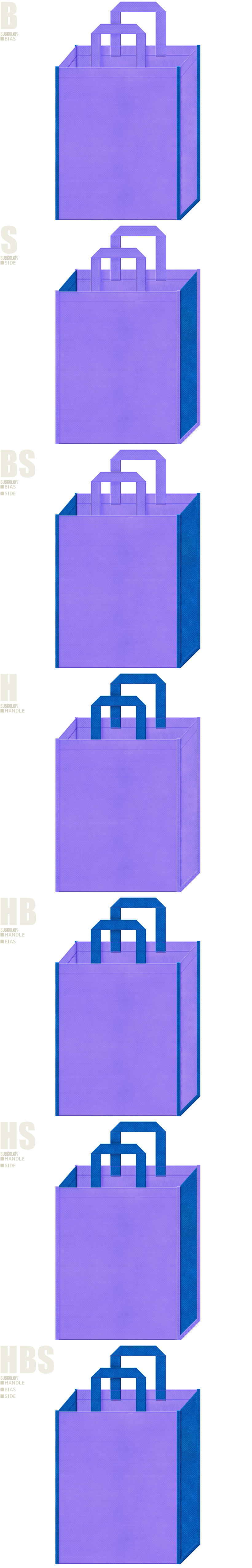 不織布トートバッグのデザイン例-不織布メインカラーNo.32+サブカラーNo.22の2色7パターン