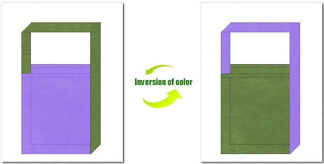 薄紫色と草色の不織布ショルダーバッグのデザイン