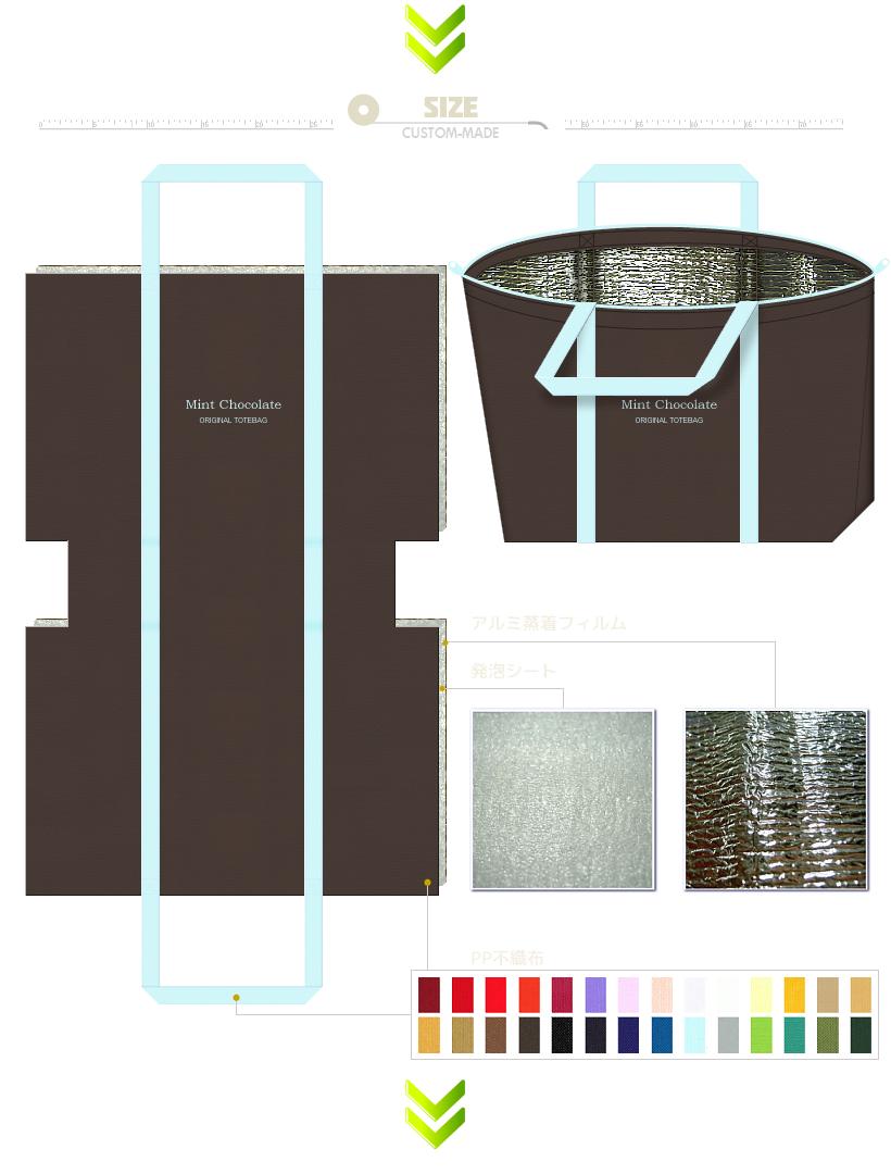 不織布保冷エコバッグの展開図(台形型):底面の補強と持ち手と本体を外れにくく補強する為に、持ち手を底面まで伸ばしたタイプです。