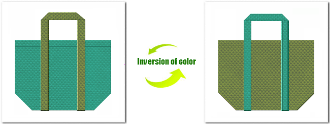 不織布No.31ライムグリーンと不織布No.34グラスグリーンの組み合わせのエコバッグ