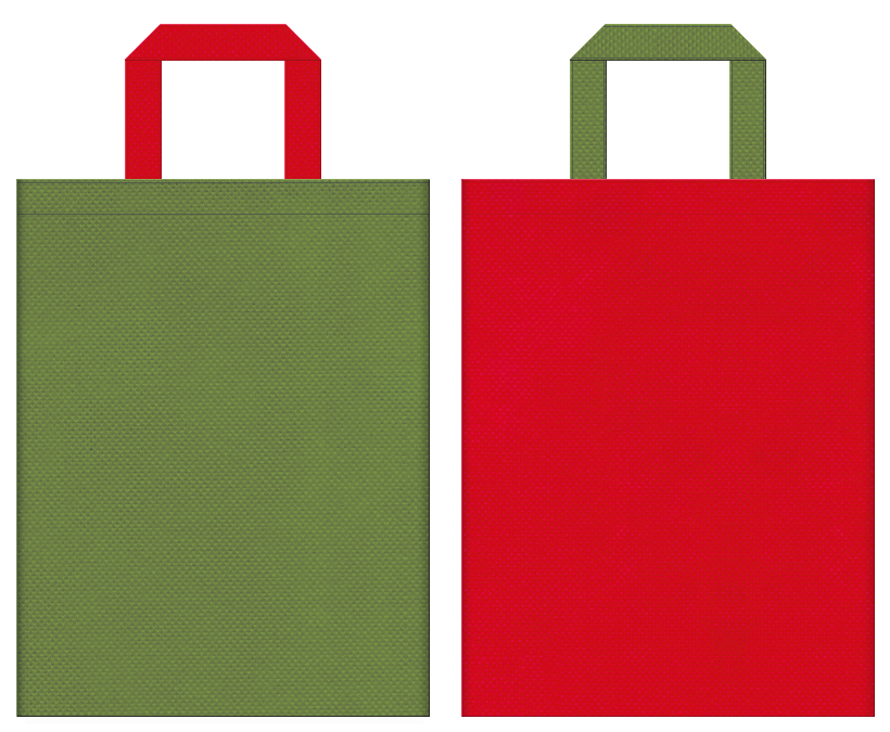 五月人形・鎧・兜・野点傘・番傘・茶会・琴・お城イベント・和風催事にお奨めの不織布バッグデザイン:草色と紅色のコーディネート