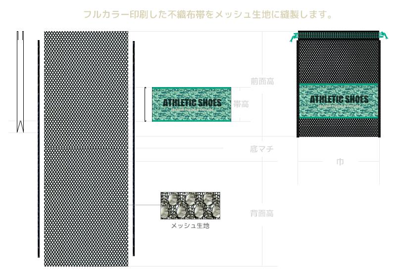 フルカラー印刷のメッシュ巾着袋展開図