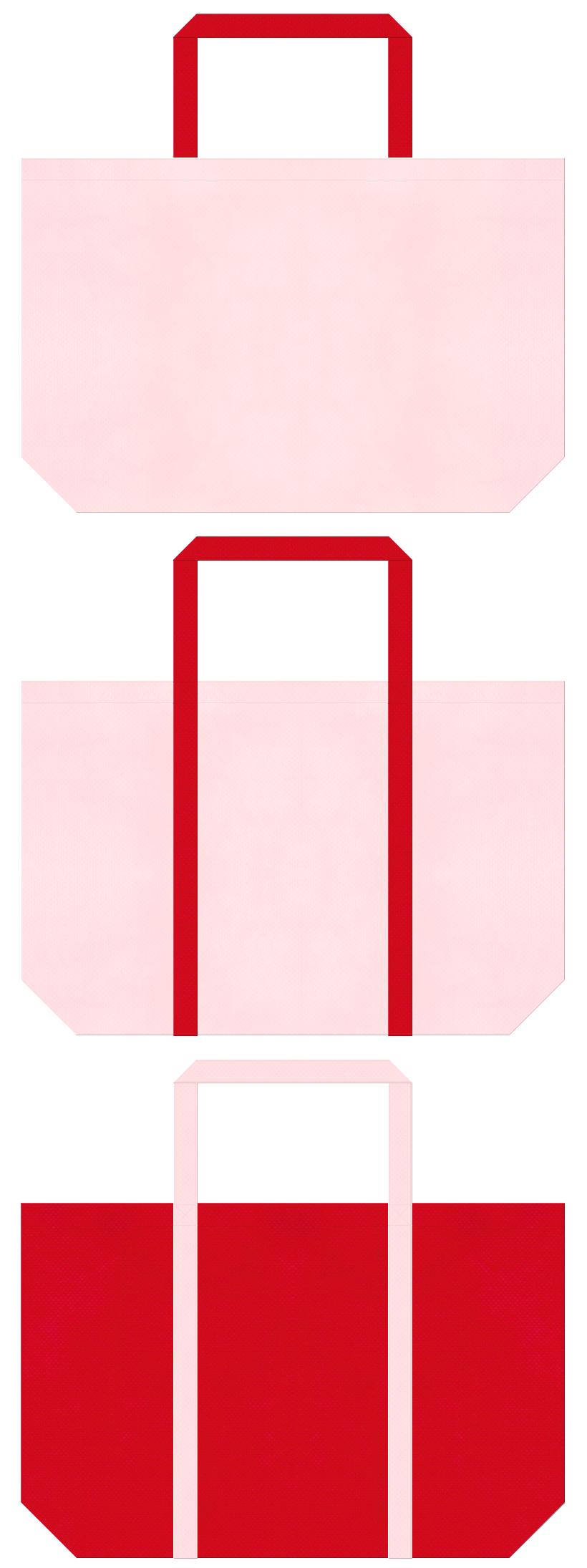桜色と紅色の不織布ショッピングバッグデザイン。母の日ギフトのショッピングバッグにお奨めです。