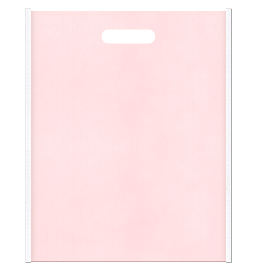 医療セミナーにお奨めです。不織布小判抜き袋デザイン:メインカラー桜色とサブカラー白色