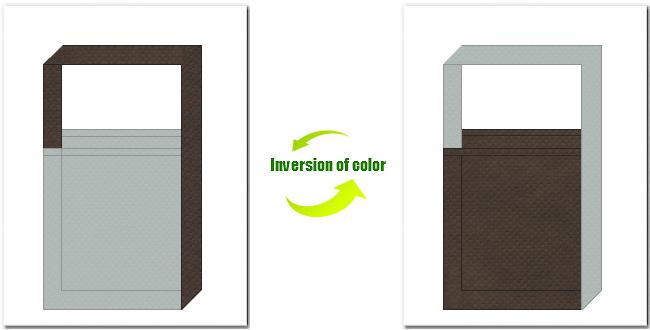 グレー色とこげ茶色の不織布ショルダーバッグのデザイン:オフィスビル・建築・設計・事務用品の展示会用バッグにお奨めの配色です。