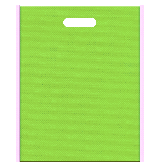 紫陽花風配色の不織布バッグ小判抜きデザイン:メインカラー黄緑色、サブカラー明るめのピンク色。和風柄にお奨めです。