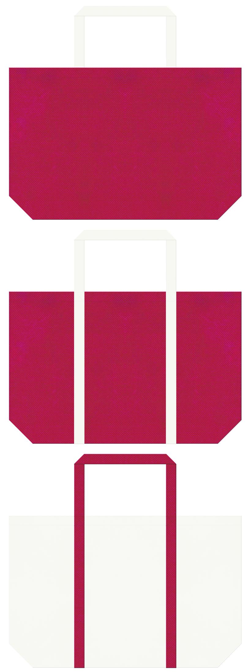 イチゴミルク・ブーケ・ウェディング・ドレス・スワン・フラミンゴ・バレエ・ガーリーデザインのショッピングバッグ・生クリーム・スイーツ・フルーツケーキ・フルーツのショッピングバッグにお奨めの不織布バッグデザイン:濃いピンク色とオフホワイト色のコーデ