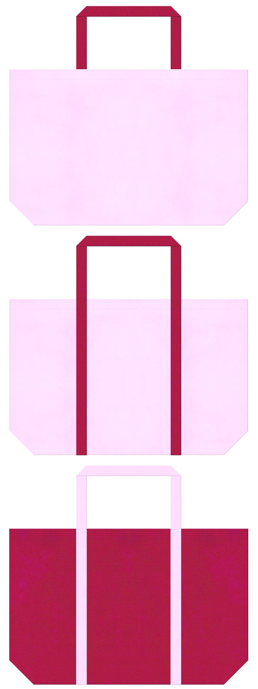明るいピンク色と濃いピンク色の不織布ショッピングバッグデザイン:フラミンゴ・バタフライのイメージでガーリーファッションのショッピングバッグにお奨めです。