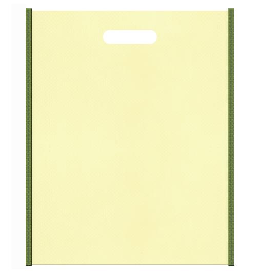 和風柄にお奨めの不織布小判抜き袋デザイン:メインカラー薄黄色、サブカラー草色