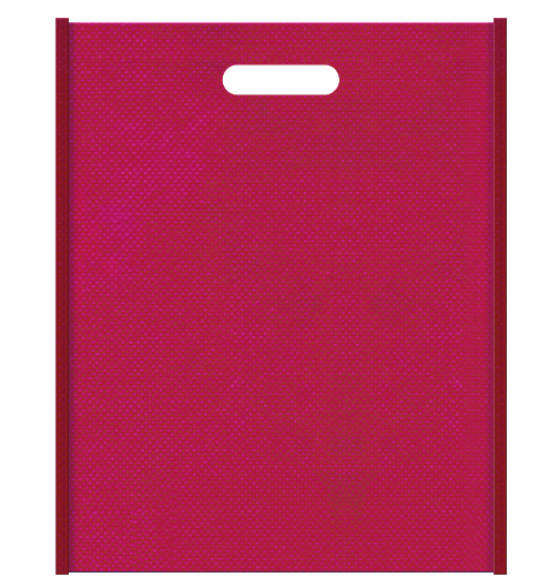 和風柄にお奨めの不織布小判抜き袋デザイン。メインカラー濃いピンク色とサブカラーエンジ色