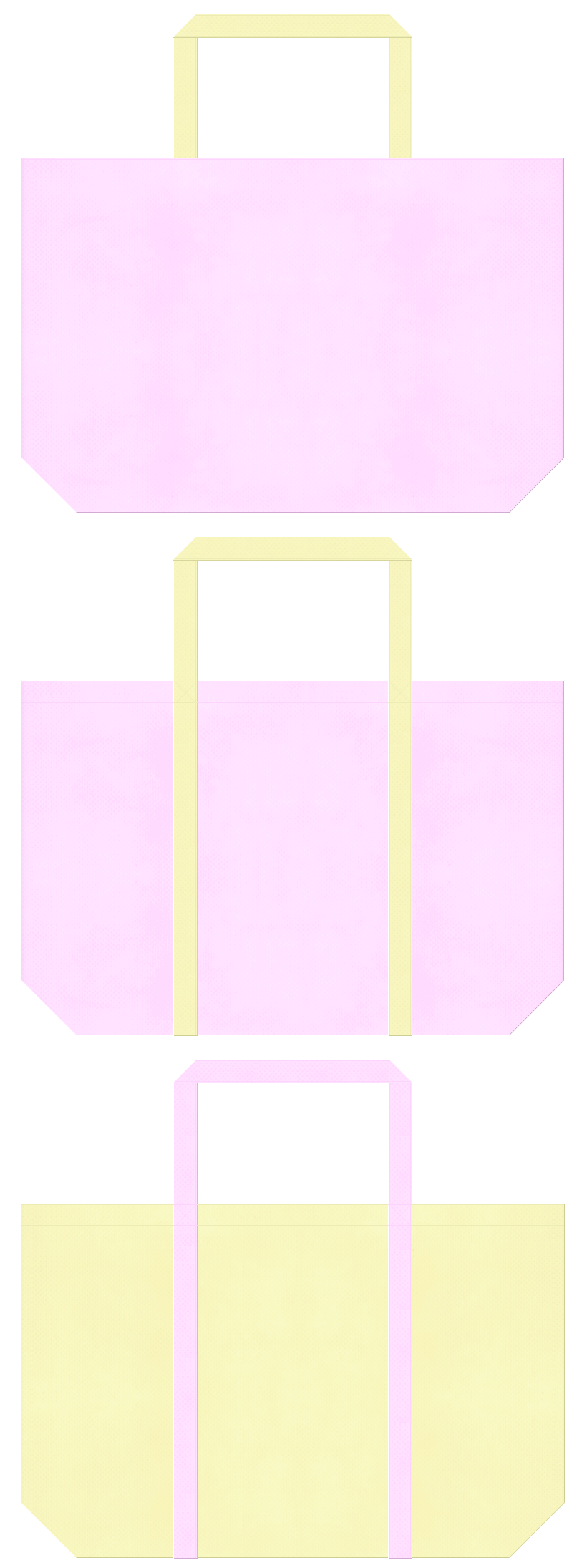 保育・福祉・介護・医療・七五三・ひな祭り・ムーンライト・バタフライ・ピーチ・ファンシー・フラワーショップ・パステルカラー・ガーリーデザインにお奨めの不織布バッグデザイン:明るいピンク色と薄黄色のコーデ