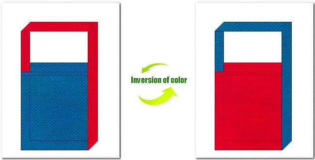 青色と紅色の不織布ショルダーバッグのデザイン:テーマパーク・おもちゃのショッピングバッグにお奨めの配色です。