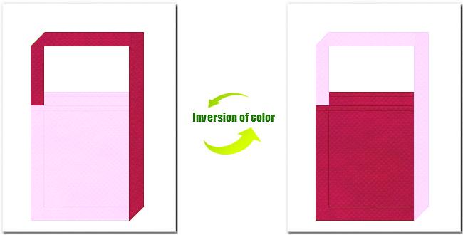 明ピンク色と濃ピンク色の不織布ショルダーバッグのデザイン