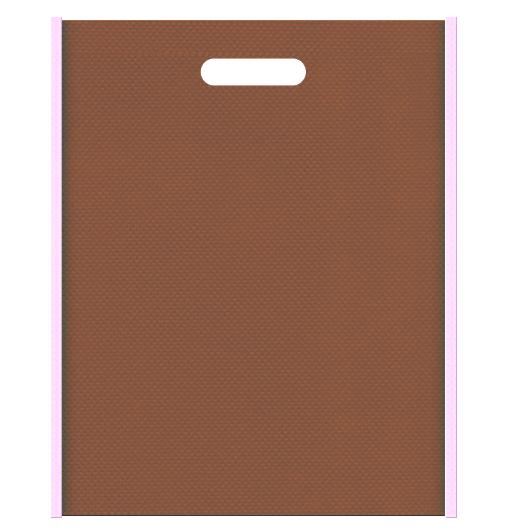お菓子のギフト用バッグにお奨めの不織布小判抜き袋デザイン:メインカラー茶色、サブカラー明るめのピンク色