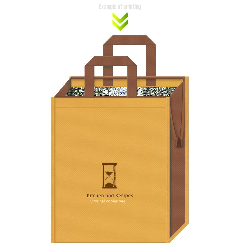 不織布バッグデザイン例。キッチン・レシピイベントのバッグノベルティ