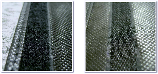 不織布バッグ制作にご使用いただけるパーツ:面ファスナーの写真(左-ループ面、右-フック面)