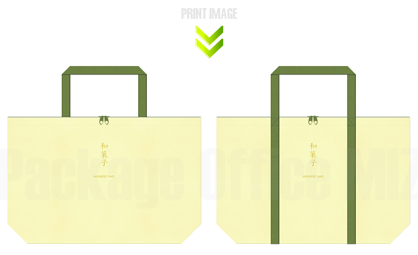 不織布バッグのデザイン:和菓子のショッピングバッグ