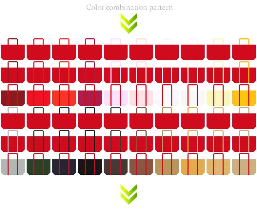 スポーツバッグ・クリスマスセール・福袋にお奨めの不織布ショッピングバッグデザイン:紅色のコーデ