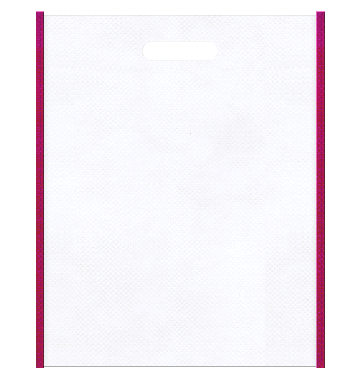 医療セミナー資料配布用のバッグにお奨めの不織布小判抜き袋デザイン:メインカラー白色、サブカラー濃いピンク色