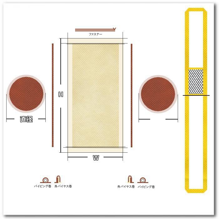 不織布ドラムバッグの印刷版配置用の展開図