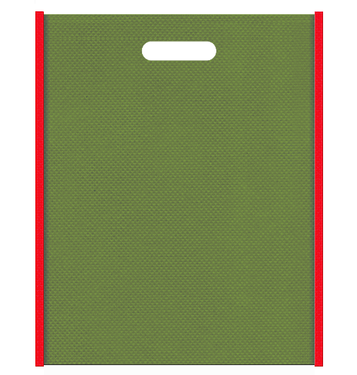野点傘風の不織布バッグ小判抜き配色デザイン:メインカラー草色とサブカラー赤色