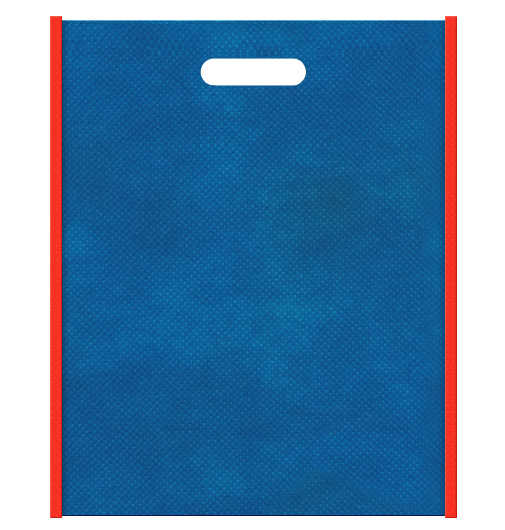 不織布バッグ小判抜き メインカラー青色とサブカラーオレンジ色