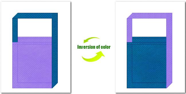 薄紫色と青色の不織布ショルダーバッグのデザイン