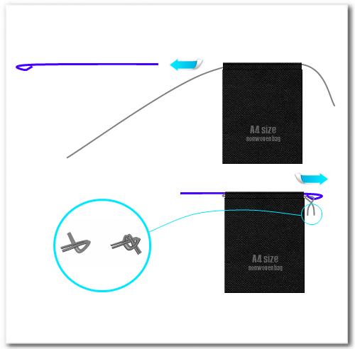袋状になった口部の背面へ、逆方向から紐を通して結びます。