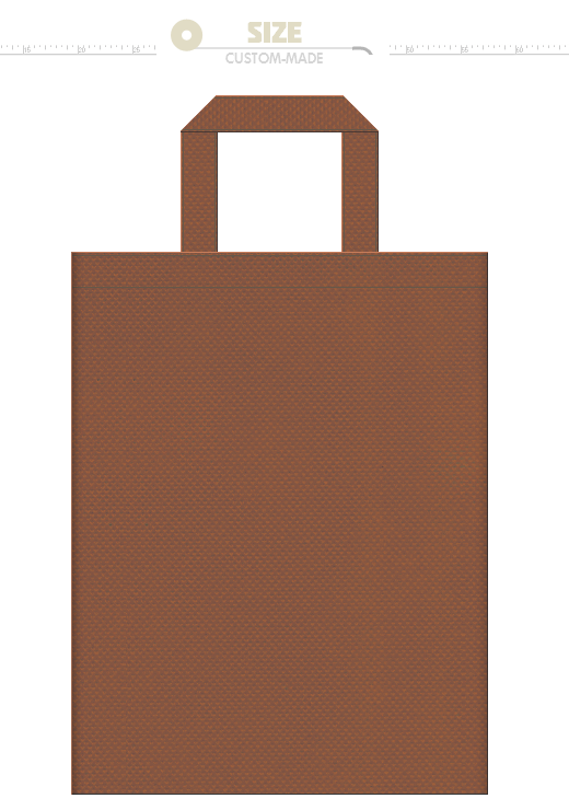 茶色の不織布バッグにお奨めのイメージ:秋冬・毛皮・靴・菓子パン・チョコレート・ココア・土・木・レンガ・岩石・伝統工芸・馬・かば・熊・ろば