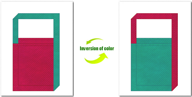 濃ピンク色と青緑色の不織布ショルダーバッグ