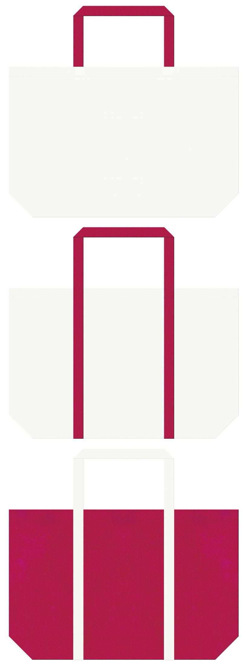 オフホワイト色と濃いピンク色の不織布ショッピングバッグのデザイン:テーマパーク・ブライダルギフト商品のショッピングバッグにお奨めです。
