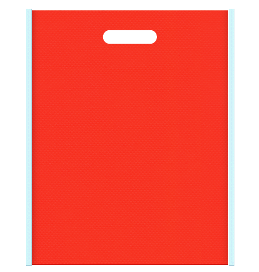 ビタミン・サプリメントにお奨めの不織布小判抜き袋デザイン。メインカラーオレンジ色とサブカラー水色