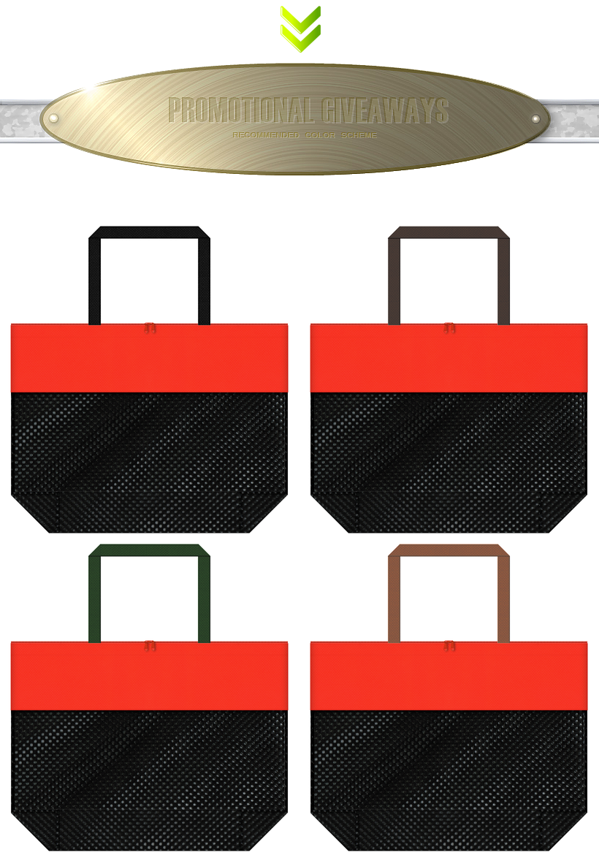 黒色メッシュとオレンジ色不織布をメインに使用した、台形型メッシュバッグのカラーシミュレーション:ハロウィンセールのショッピングバッグにお奨め