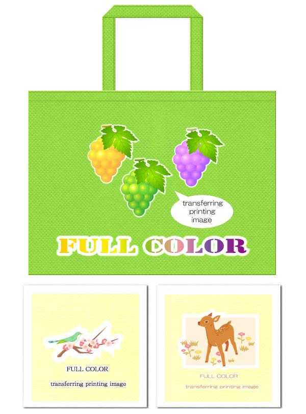 不織布バッグのフルカラー印刷例:グラデーションのある柄と多色を使用したキャラクター柄