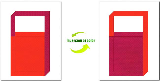 オレンジ色と濃ピンク色の不織布ショルダーバッグ