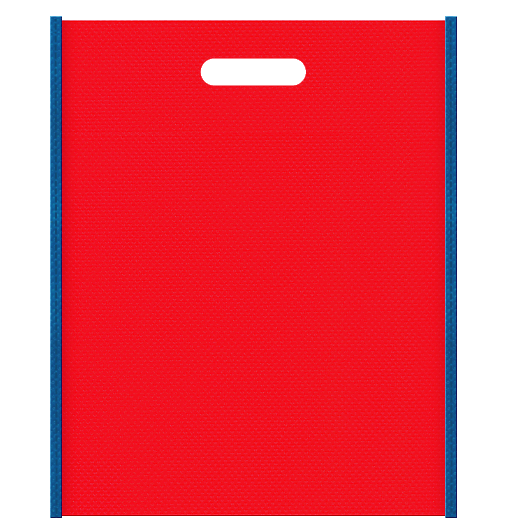 スポーツイベントにお奨めの不織布小判抜き袋デザイン。メインカラー赤色とサブカラー青色