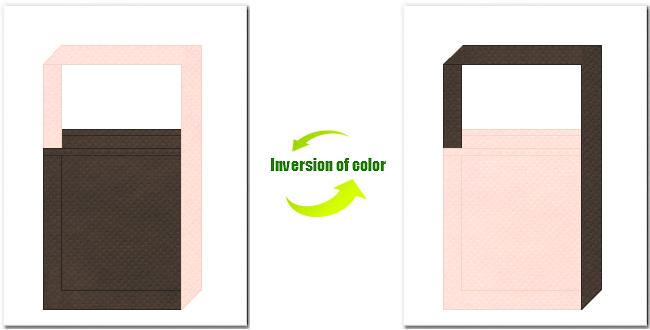 こげ茶色と桜色の不織布ショルダーバッグのデザイン:桜の木のイメージにお奨めの配色です。