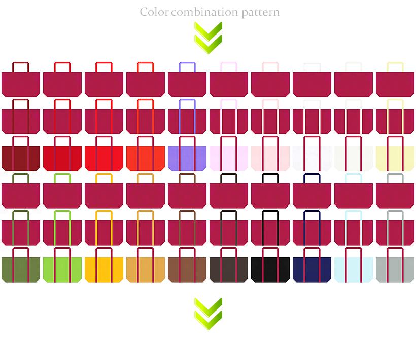 ガーリーデザイン・スポーツ・トロピカル・フルーツ・コスメにお奨めの不織布バッグデザイン:濃いピンク色のコーデ