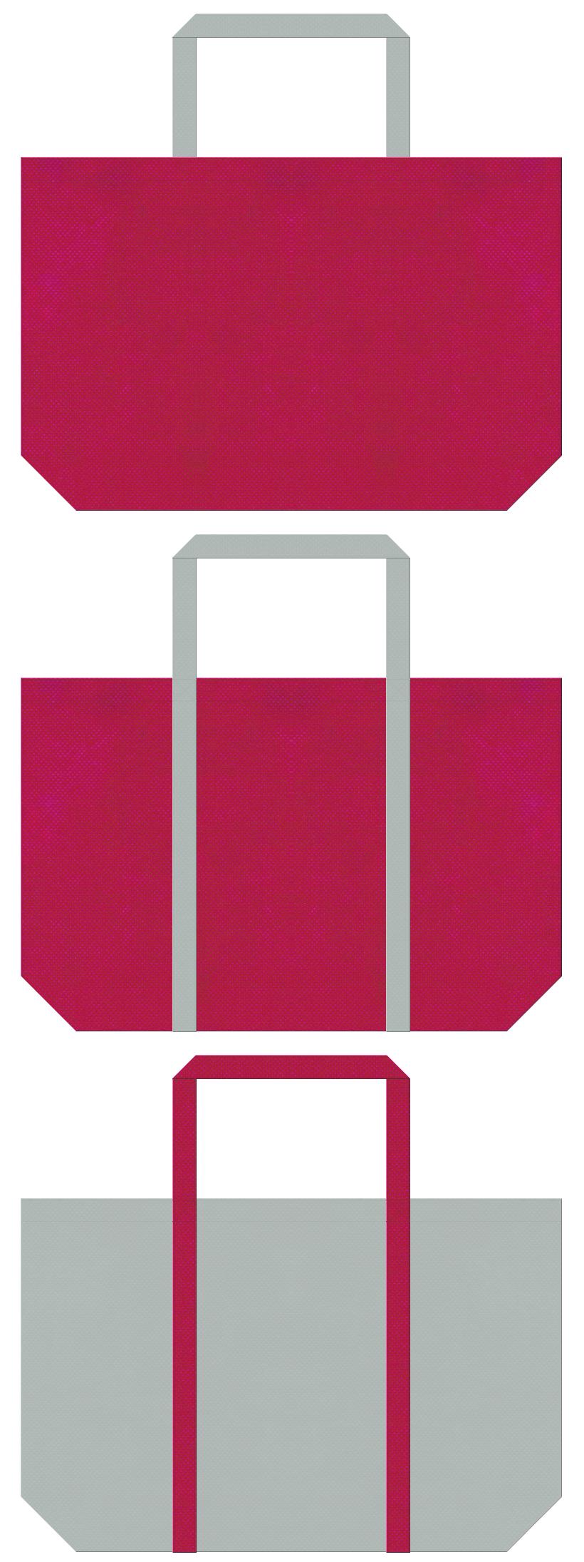 濃いピンク色とグレー色の不織布ショッピングバッグデザイン。