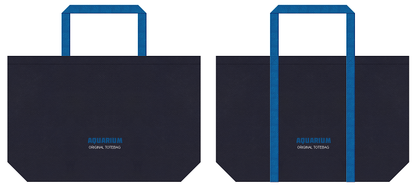 濃紺色と青色の不織布バッグのデザイン例:水族館のノベルティ