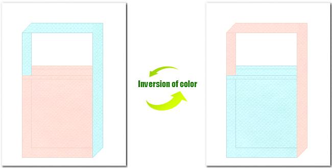 桜色と水色の不織布ショルダーバッグのデザイン