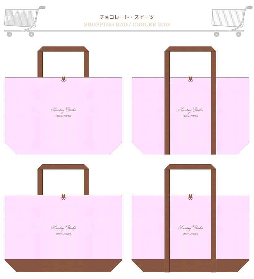 パステルピンク色と茶色の不織布ショッピングバッグデザイン:スイーツ・チョコレートのショッピングバッグ