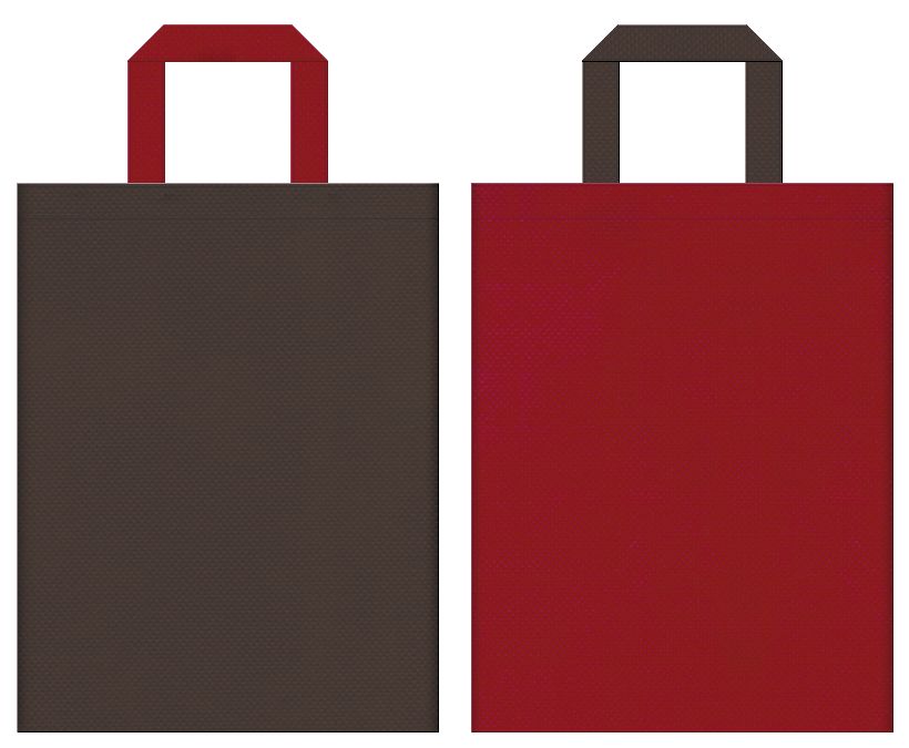 不織布バッグの印刷ロゴ背景レイヤー用デザイン:こげ茶色とエンジ色のコーディネート:ぜんざいのイメージで和風スイーツの販促イベントにお奨めです。