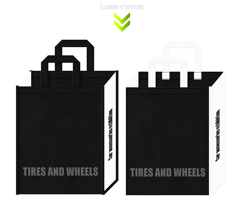カー用品の展示会用バッグのデザイン。不織布カラー白黒