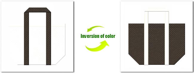 不織布No.12オフホワイトと不織布No.40ダークコーヒーブラウンの組み合わせのショッピングバッグ