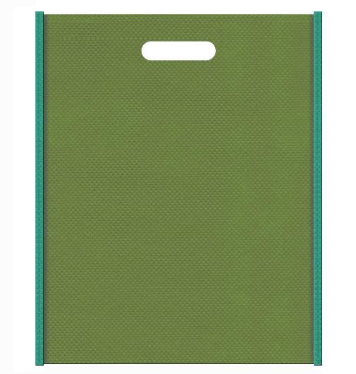 不織布バッグ小判抜き メインカラー青緑色とサブカラー草色の色反転