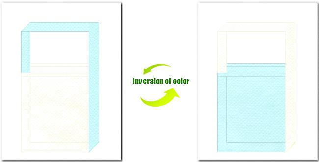 オフホワイト色と水色の不織布ショルダーバッグのデザイン:フェアリーな印象で、バス用品・コスメ製品のノベルティにお奨めの配色です。