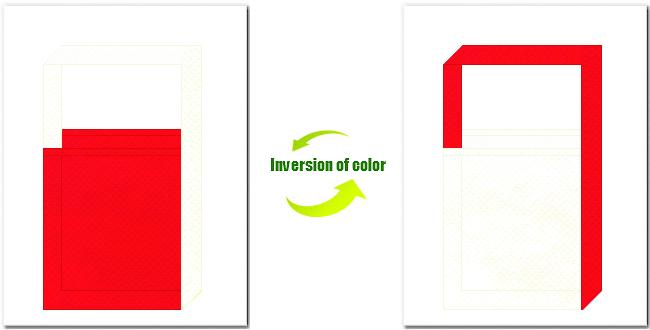 赤色とオフホワイト色の不織布ショルダーバッグ