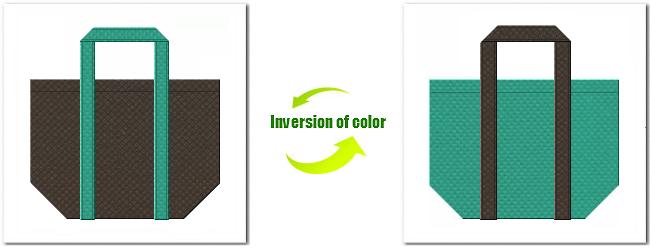不織布No.40ダークコーヒーブラウンと不織布No.31ライムグリーンの組み合わせのショッピングバッグ