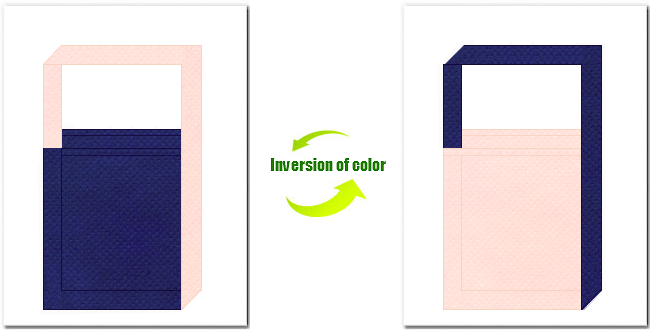 明紺色と桜色の不織布ショルダーバッグのデザイン:浴衣風の配色です。
